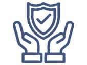 Sicherheitssymbol für Treppenlift mit haltenden Händen